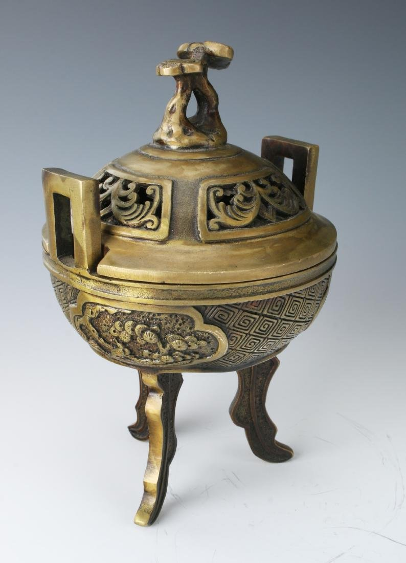 CHINESE METAL CENSER WITH LID - 5