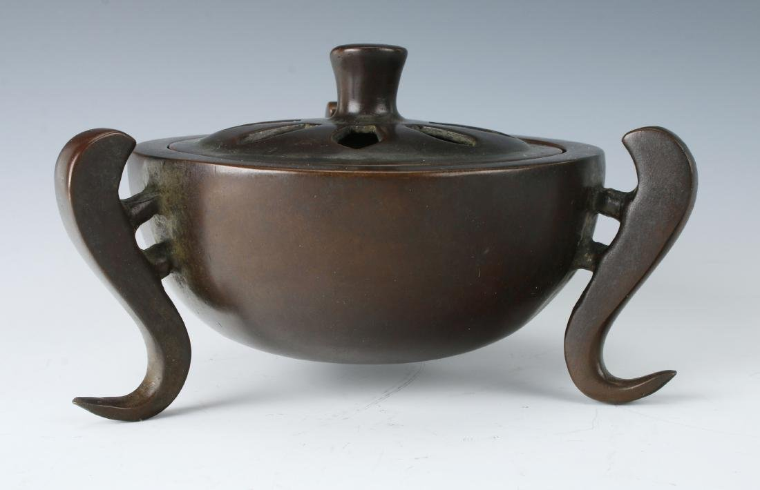 CHINESE BRONZE CENSER WITH LID - 2