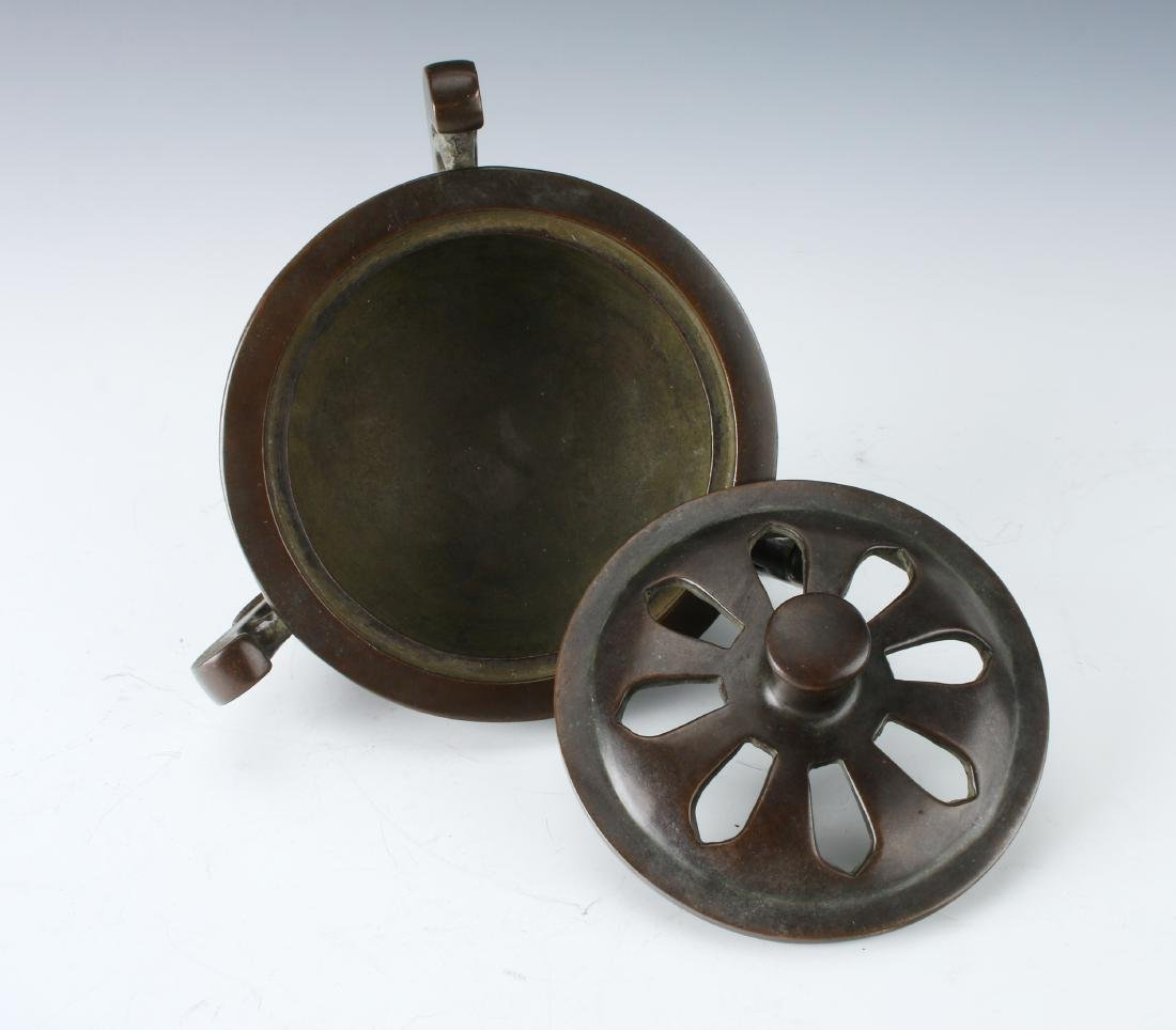 CHINESE BRONZE CENSER WITH LID - 3
