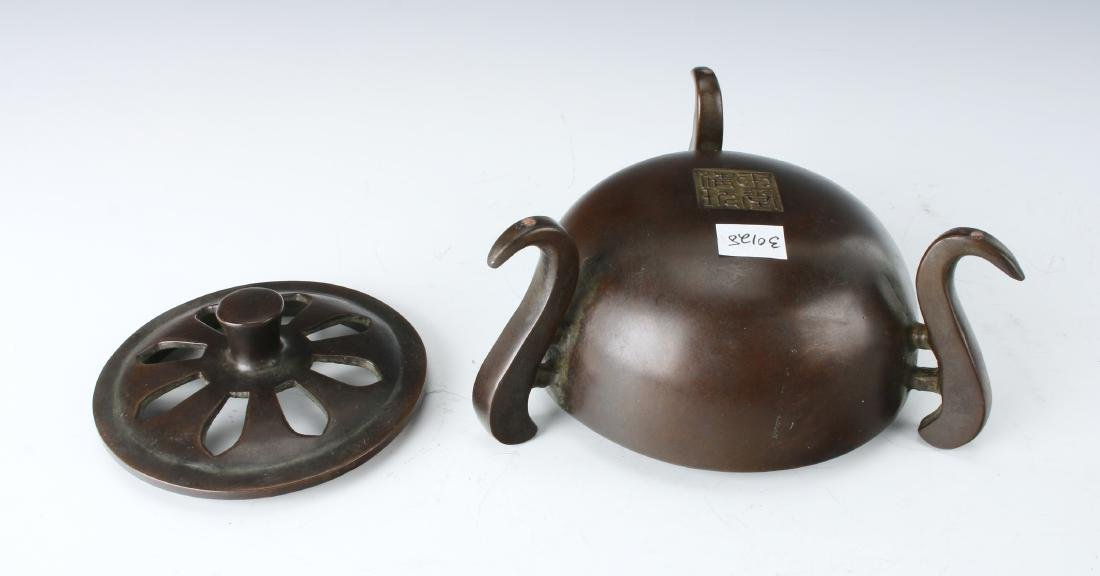CHINESE BRONZE CENSER WITH LID - 6