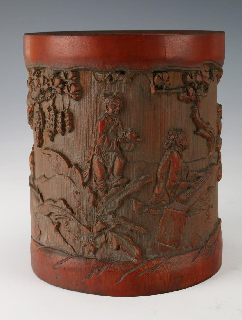 CARVED BAMBOO BRUSH POT - 2