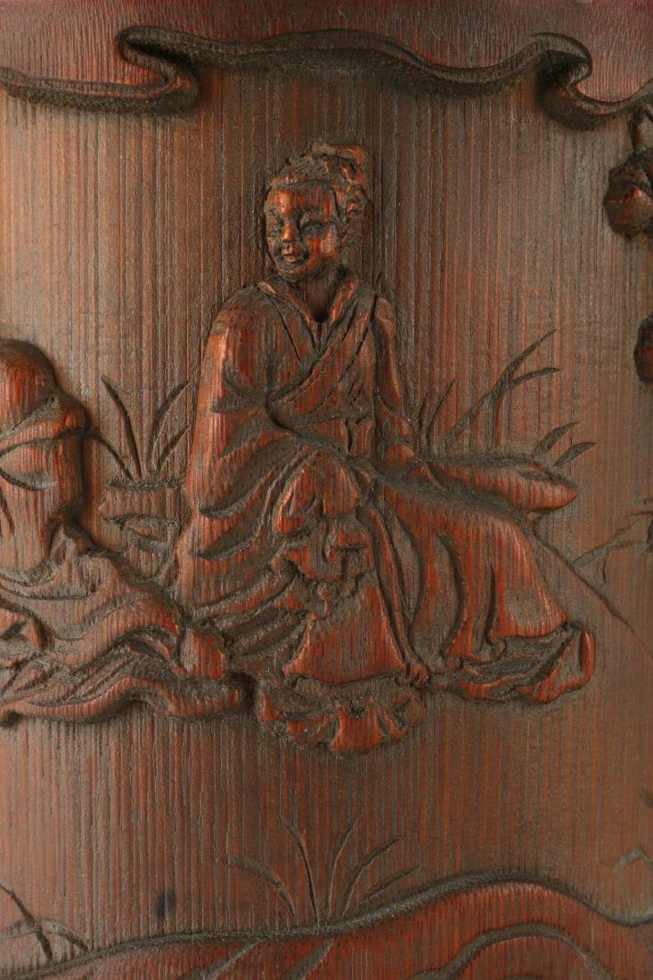 CARVED BAMBOO BRUSH POT - 5