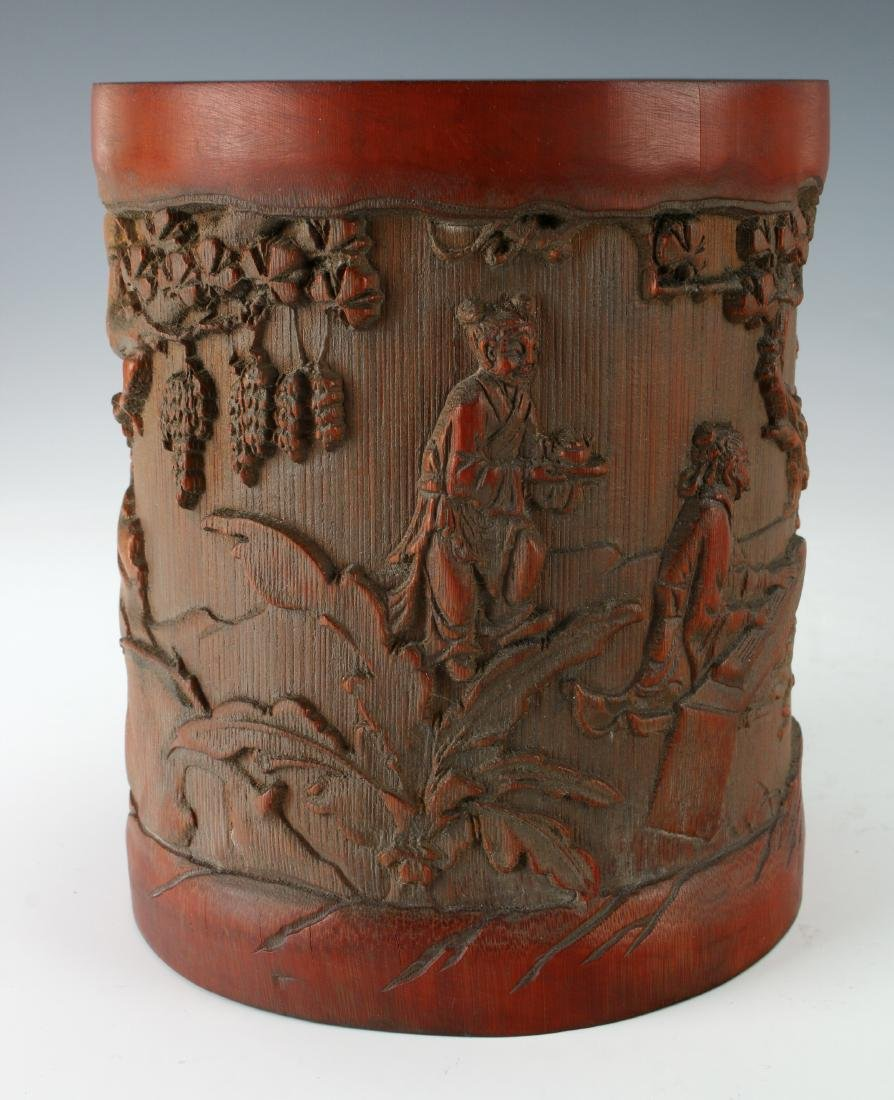 CARVED BAMBOO BRUSH POT - 7