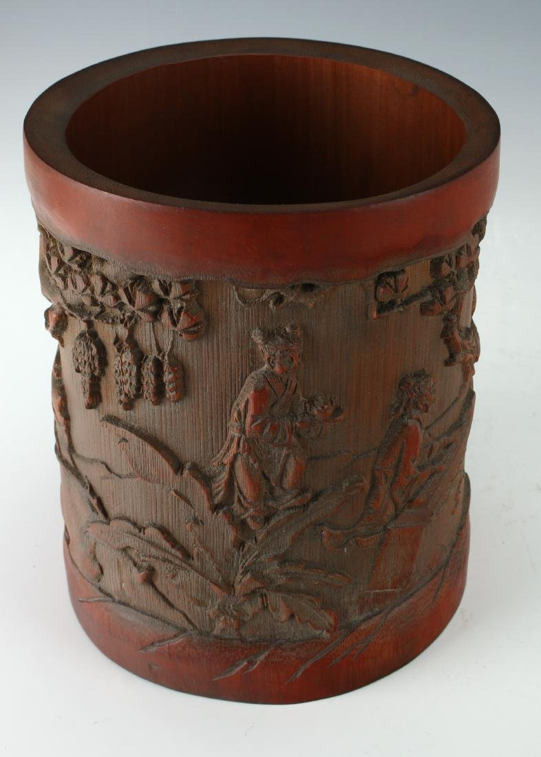 CARVED BAMBOO BRUSH POT - 8