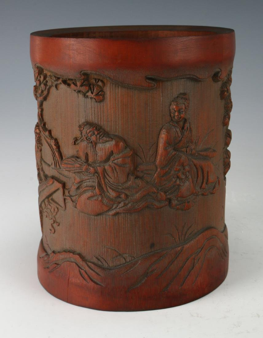 CARVED BAMBOO BRUSH POT - 9