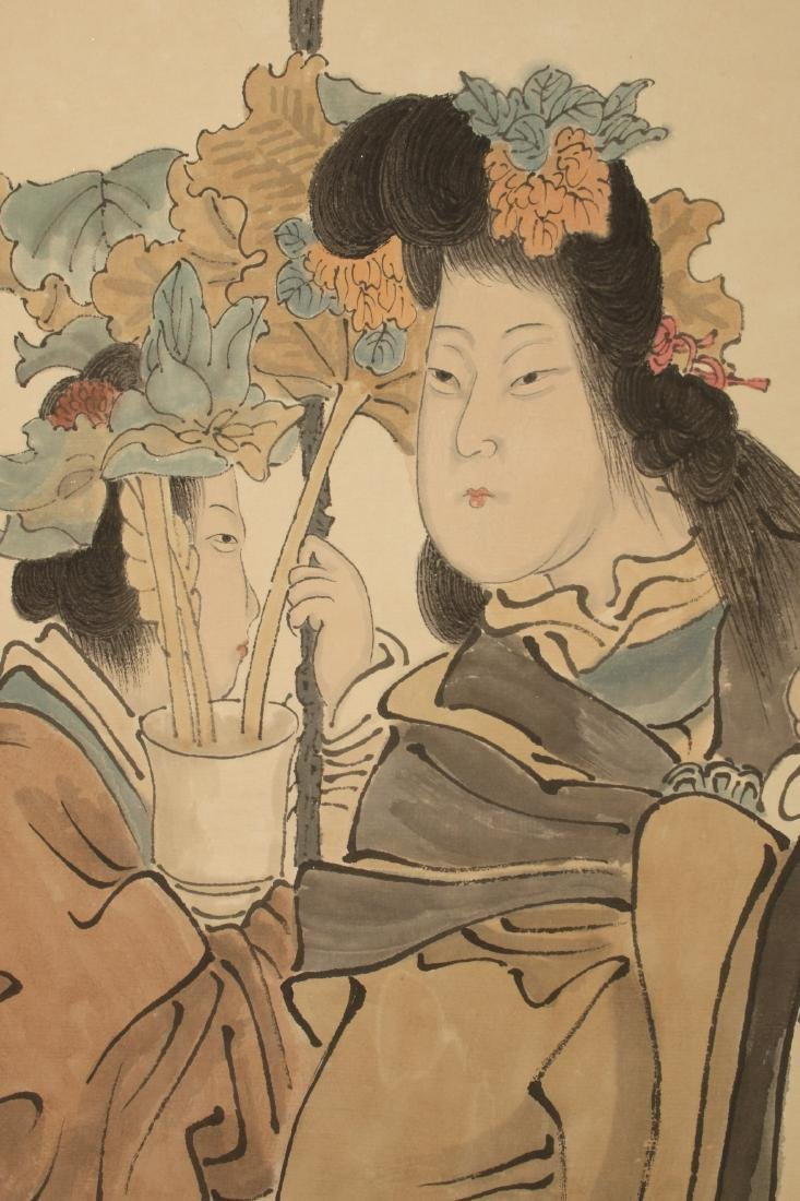 CHINSES SCROLL OF TWO WOMEN WITH PLANT - 4