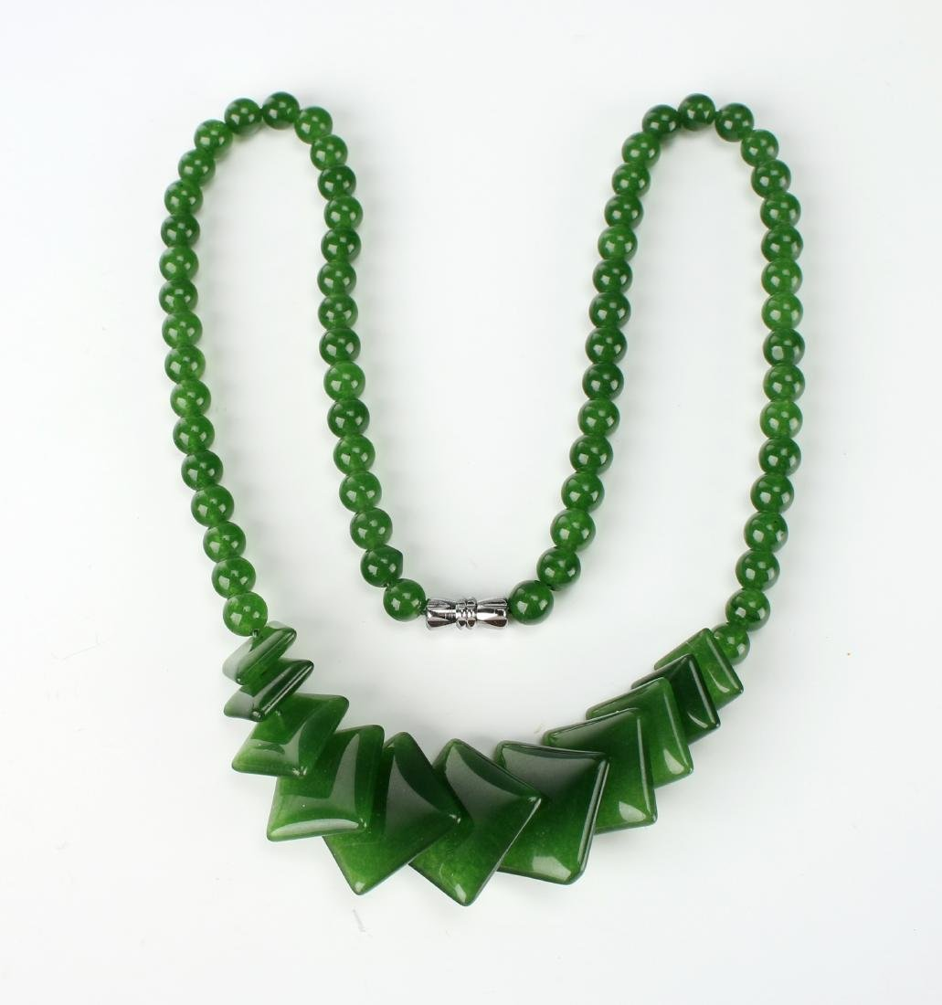 SQUARE GREEN JADE NECKLACE