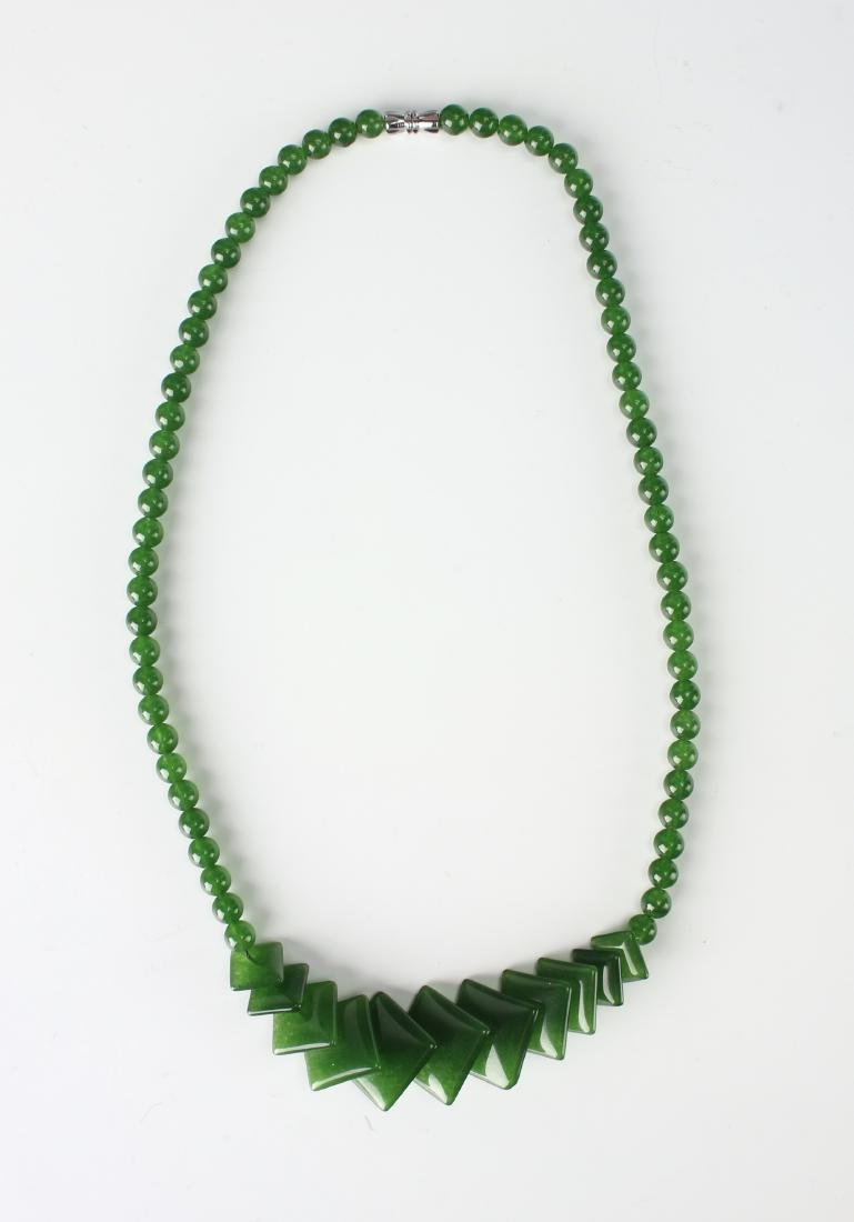 SQUARE GREEN JADE NECKLACE - 2
