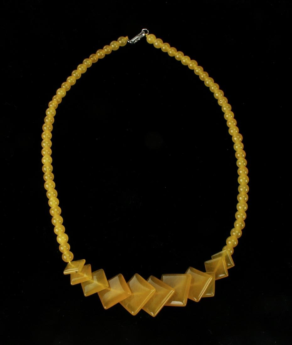 SQUARE YELLOW JADE NECKLACE