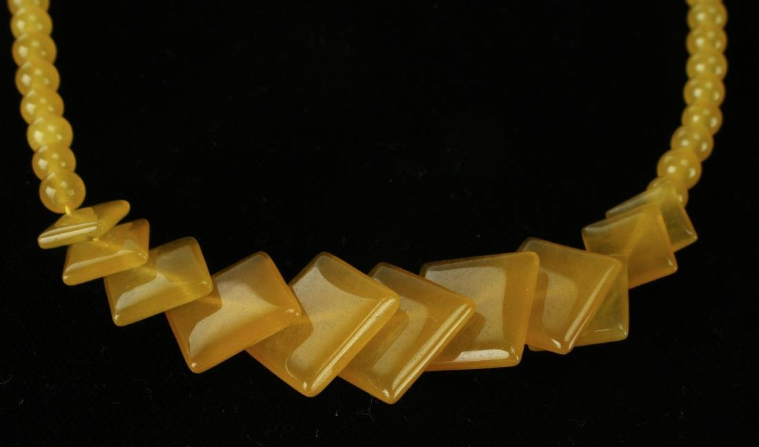 SQUARE YELLOW JADE NECKLACE - 2