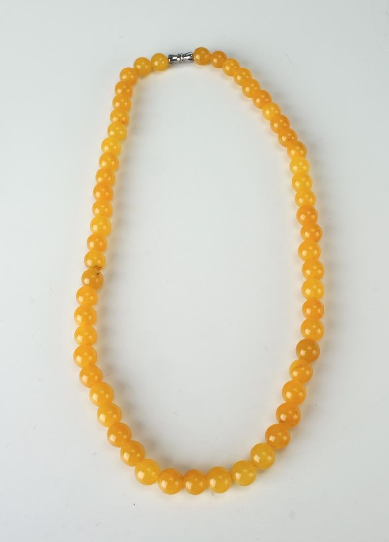 YELLOW JADE BEAD NECKLACE - 3