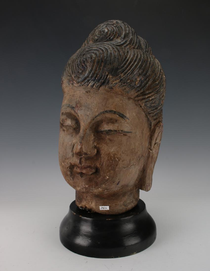 WOOD CARVED BUDDHA HEAD ON STAND