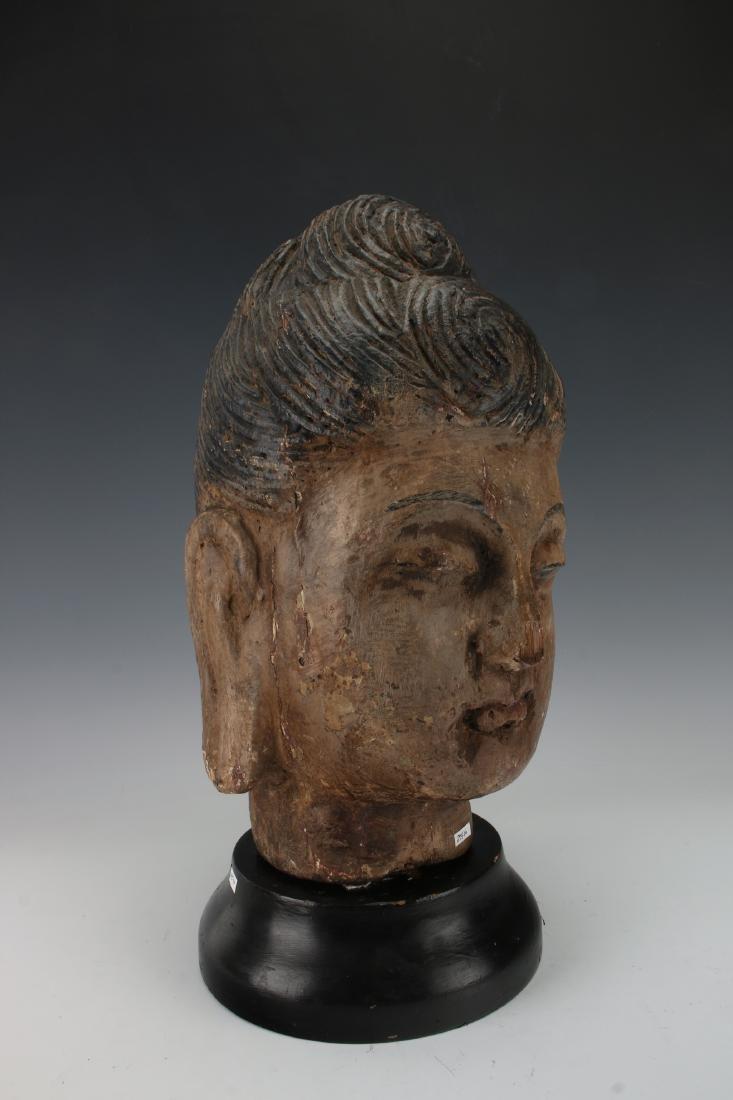 WOOD CARVED BUDDHA HEAD ON STAND - 2