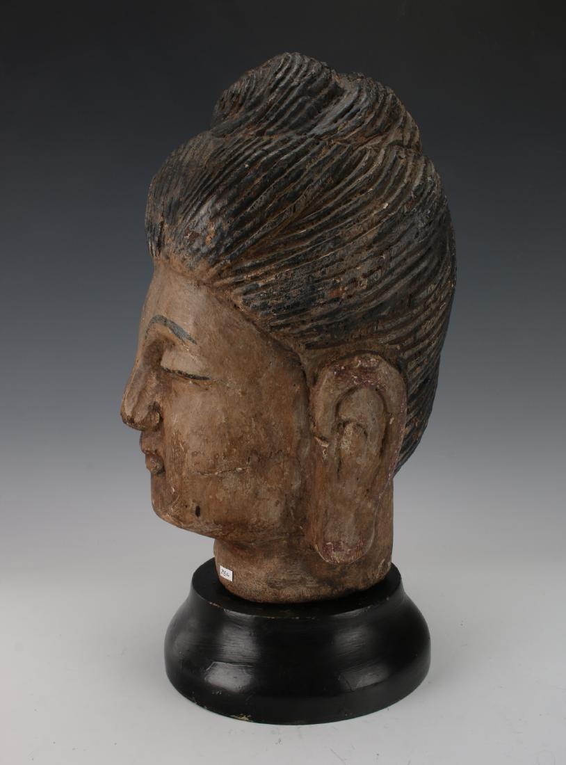 WOOD CARVED BUDDHA HEAD ON STAND - 3