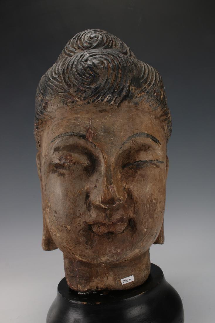 WOOD CARVED BUDDHA HEAD ON STAND - 4