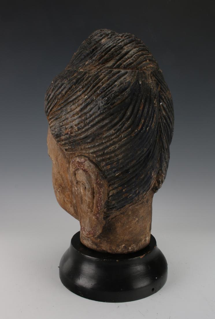 WOOD CARVED BUDDHA HEAD ON STAND - 5