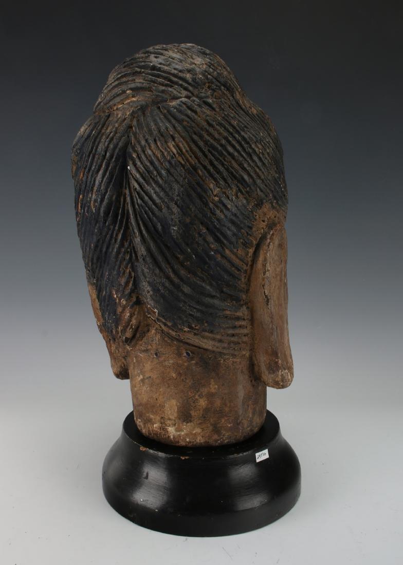 WOOD CARVED BUDDHA HEAD ON STAND - 6