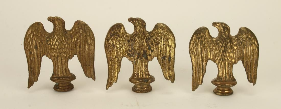 THREE BRASS EAGLE FINIALS FLAG TOPPERS