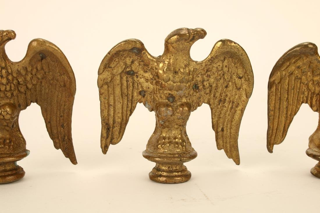 THREE BRASS EAGLE FINIALS FLAG TOPPERS - 3