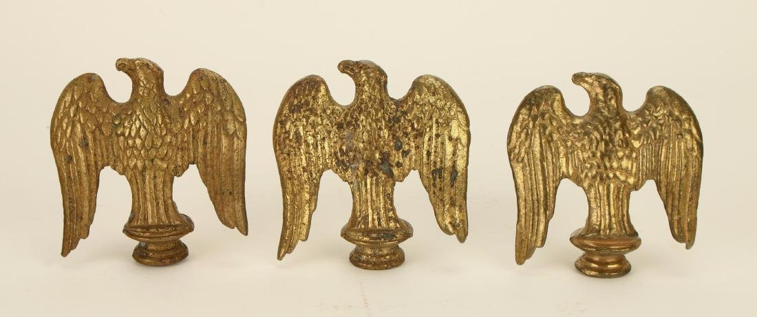 THREE BRASS EAGLE FINIALS FLAG TOPPERS - 4