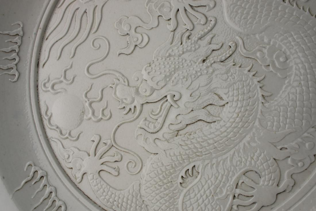 WANG BING RONG CARVED DRAGON PLATE - 2
