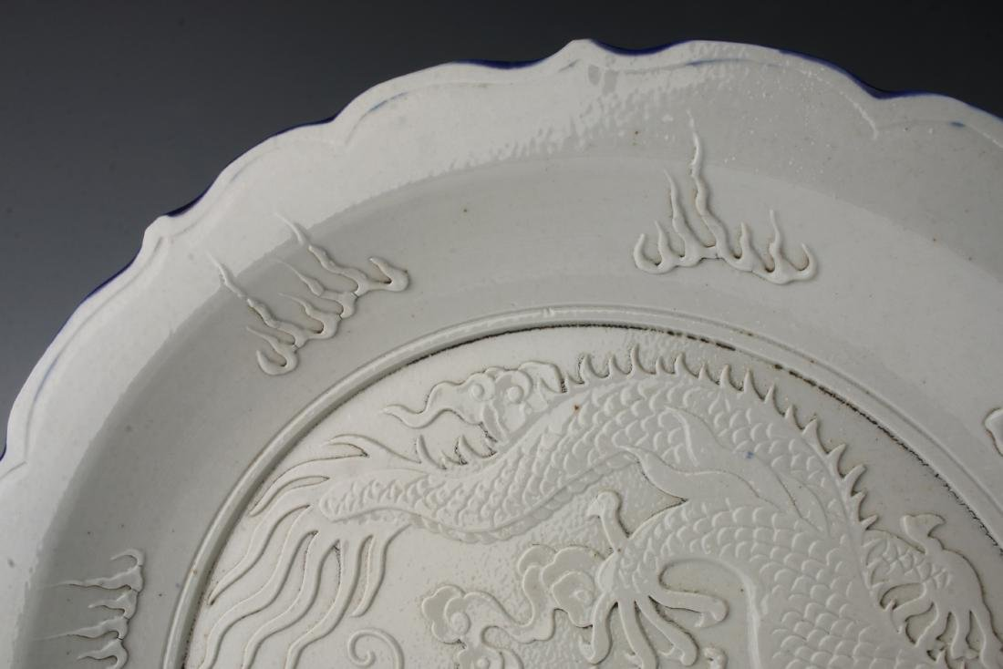 WANG BING RONG CARVED DRAGON PLATE - 3