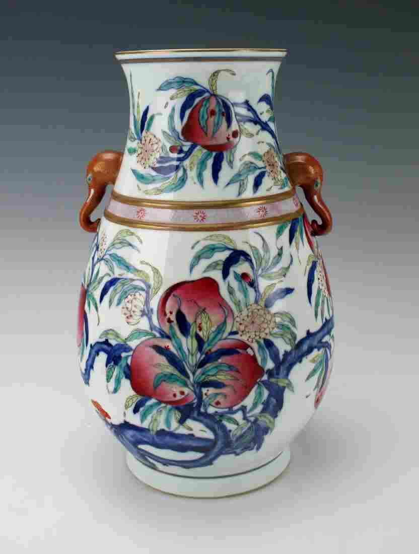 """HUNDRED DEER"" SHAPE VASE WITH PEACHES"