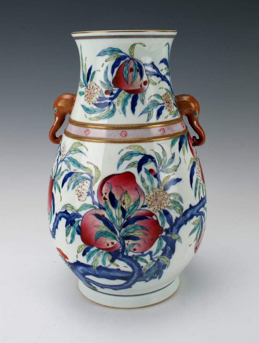 """""""HUNDRED DEER"""" SHAPE VASE WITH PEACHES"""