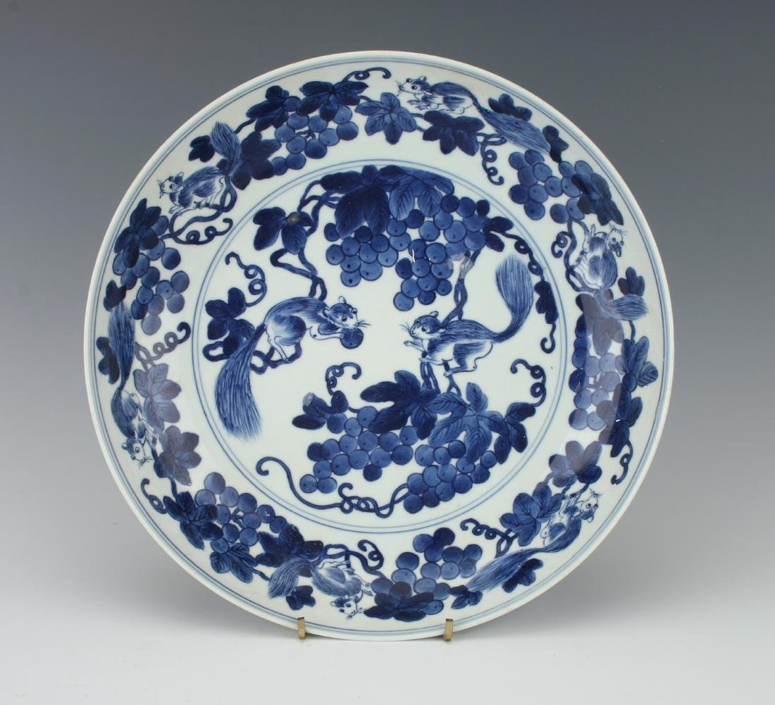 BLUE AND WHITE BOWL WITH SQUIRRELS AND FRUIT