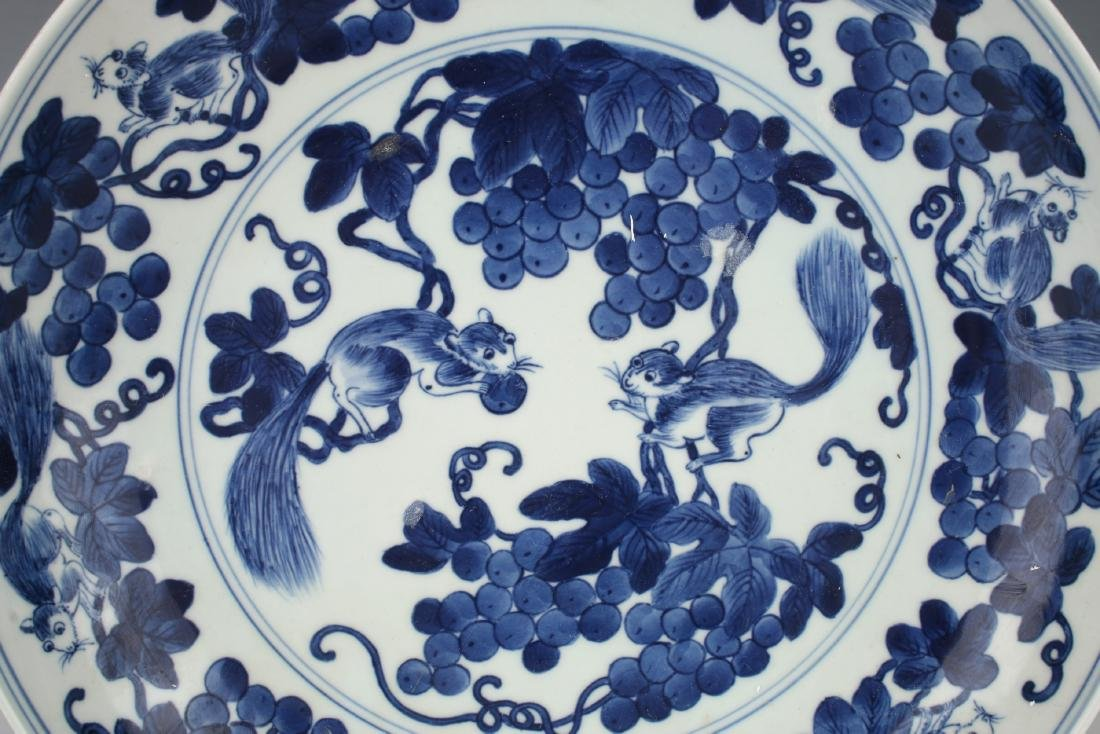 BLUE AND WHITE BOWL WITH SQUIRRELS AND FRUIT - 2