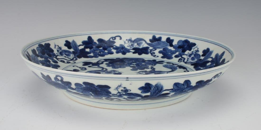 BLUE AND WHITE BOWL WITH SQUIRRELS AND FRUIT - 4