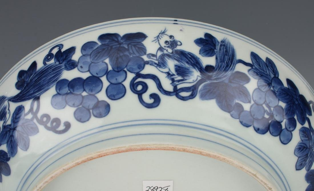 BLUE AND WHITE BOWL WITH SQUIRRELS AND FRUIT - 5