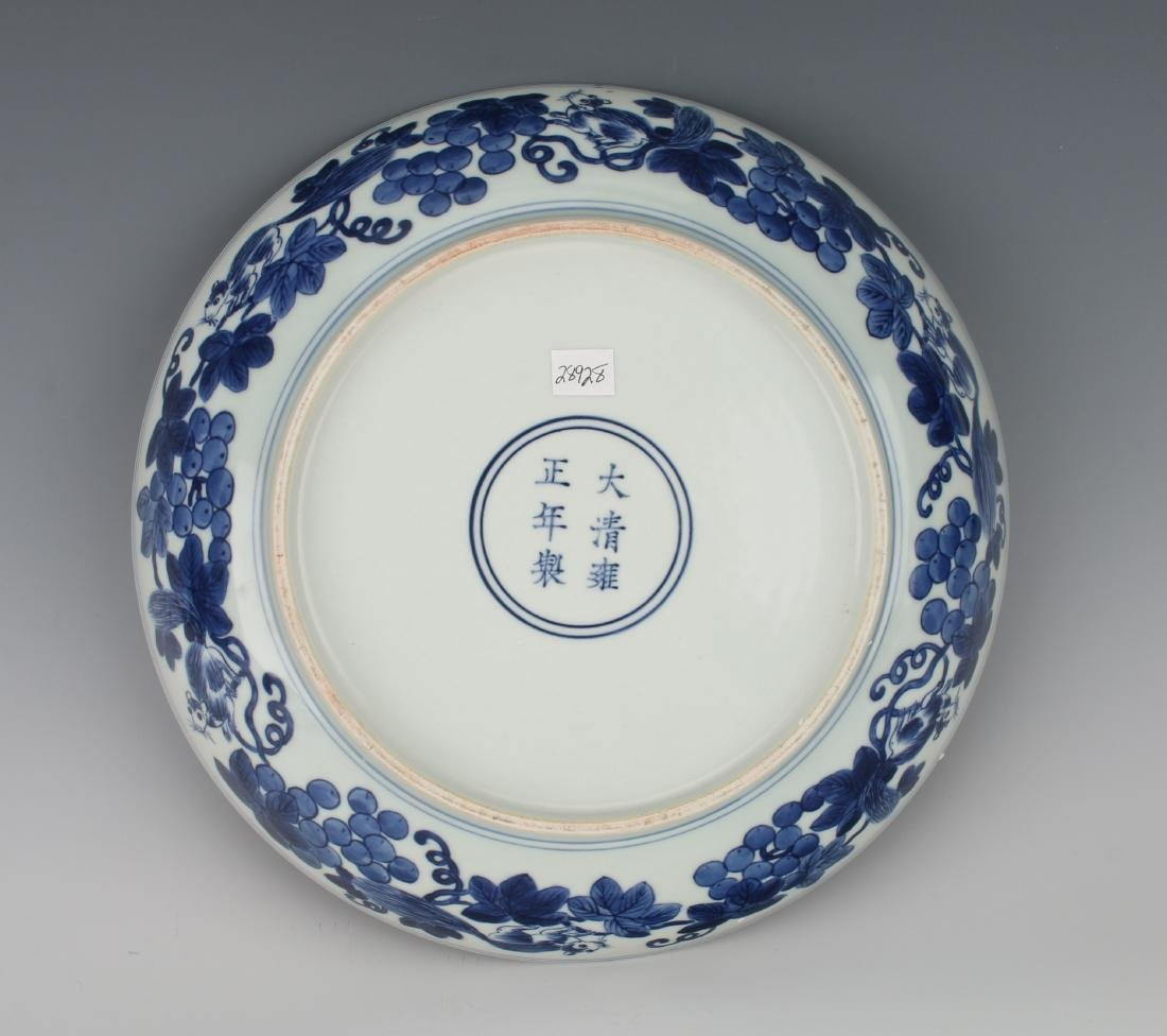BLUE AND WHITE BOWL WITH SQUIRRELS AND FRUIT - 6