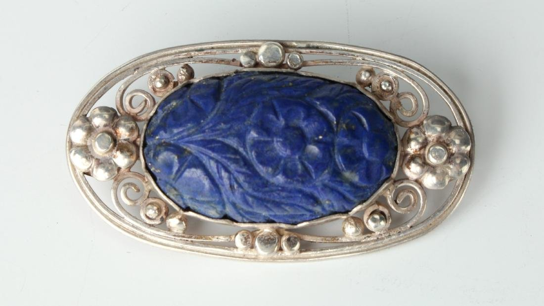 CHINESE LAPIS & SILVER BROOCH PIN