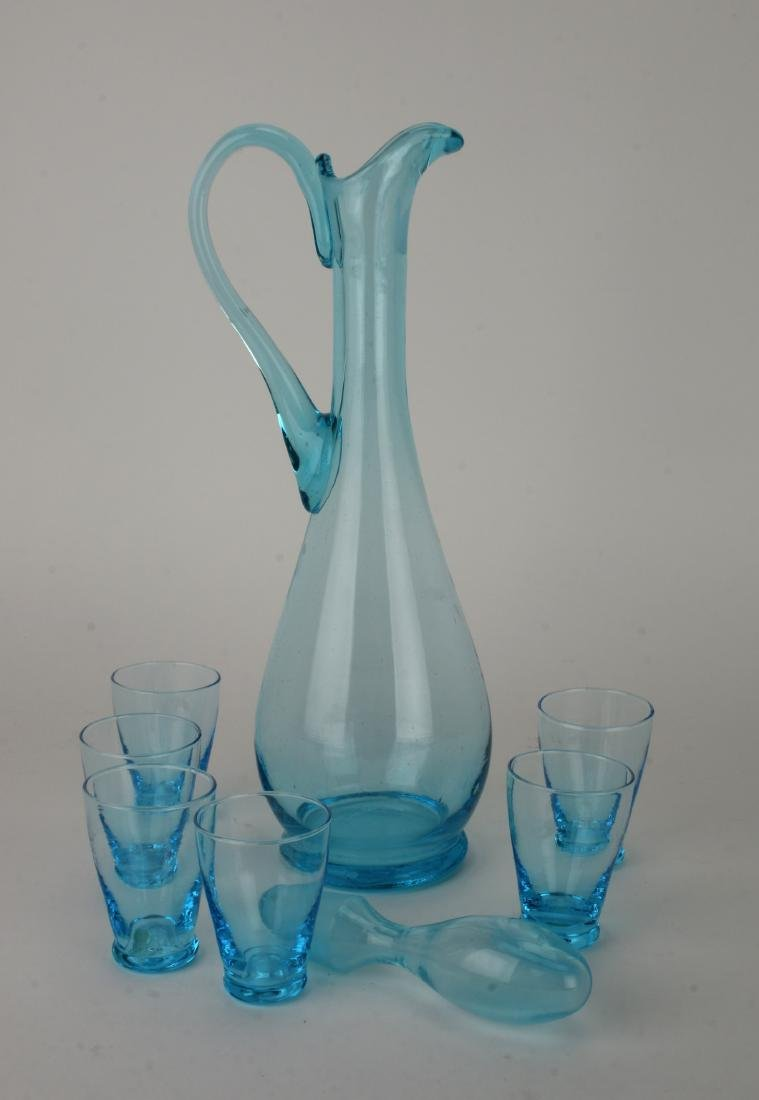 MID CENTURY ITALIAN GLASS DECANTER W/ SIX GLASSES - 2