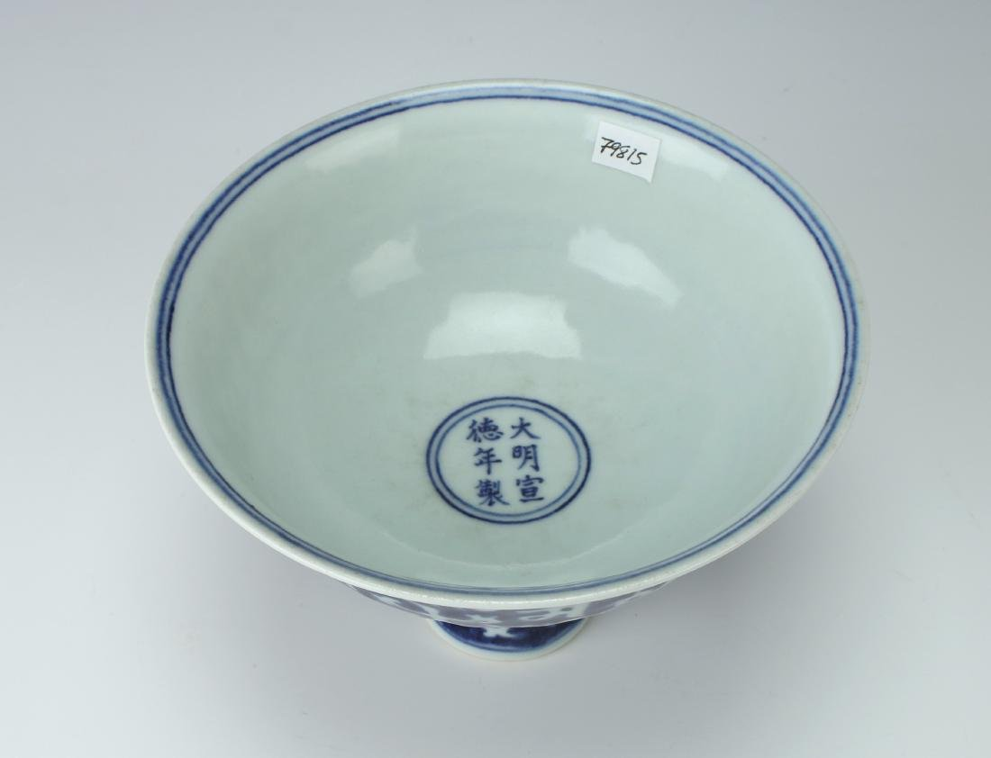 BLUE & WHITE HIGH HEELED BOWL - 5