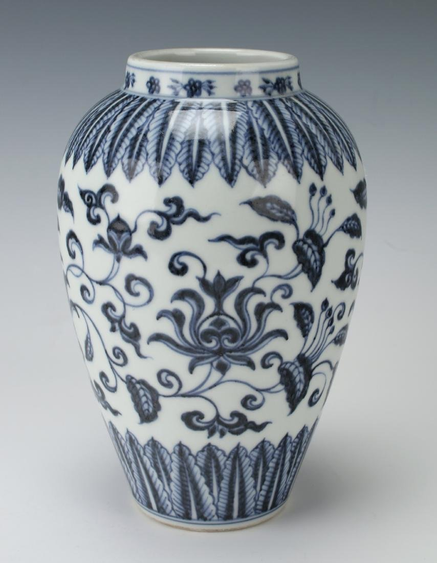 BLUE & WHITE VASE WITH FLORAL MOTIF - 2