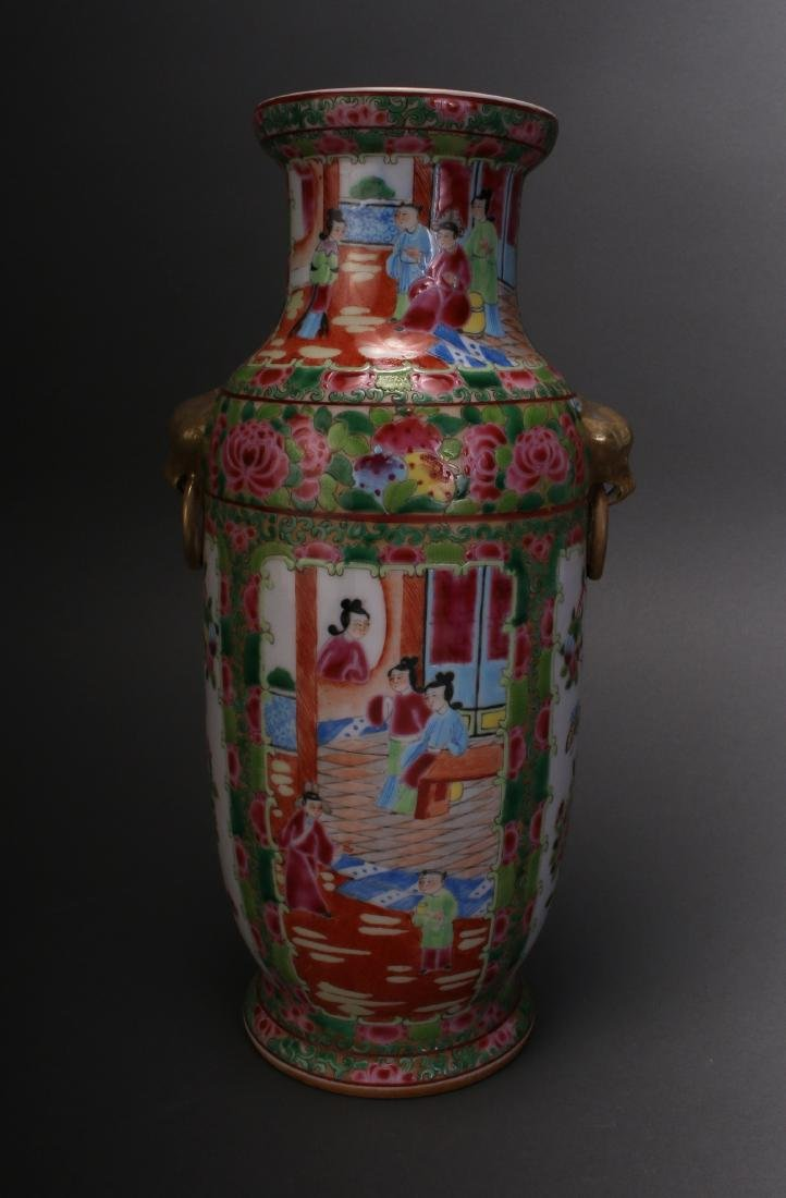 CHINESE ROSE MEDALLION EXPORT VASE - 4