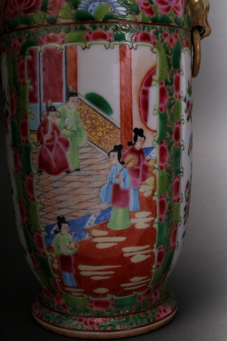 CHINESE ROSE MEDALLION EXPORT VASE - 6