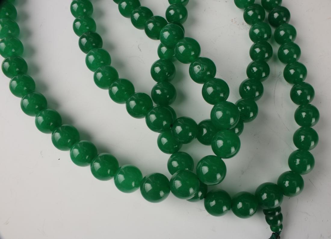 GREEN JADE BEAD MALA NECKLACE - 3