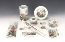 20TH CENTURY PORCELAIN SCHOLARS PAINTING SET