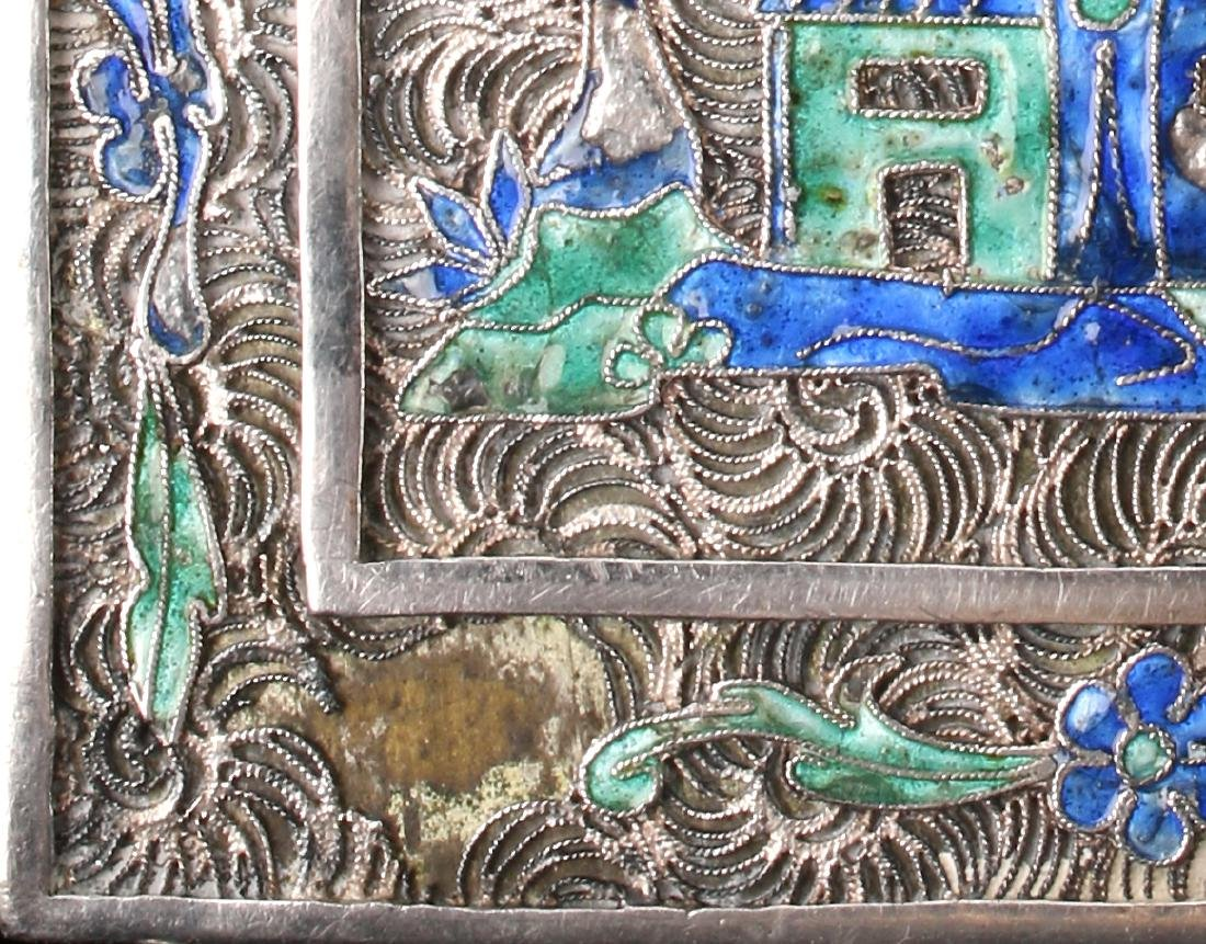 """CHINESE SILVER """"BOOK"""" WITH SILK PAINTING - 10"""