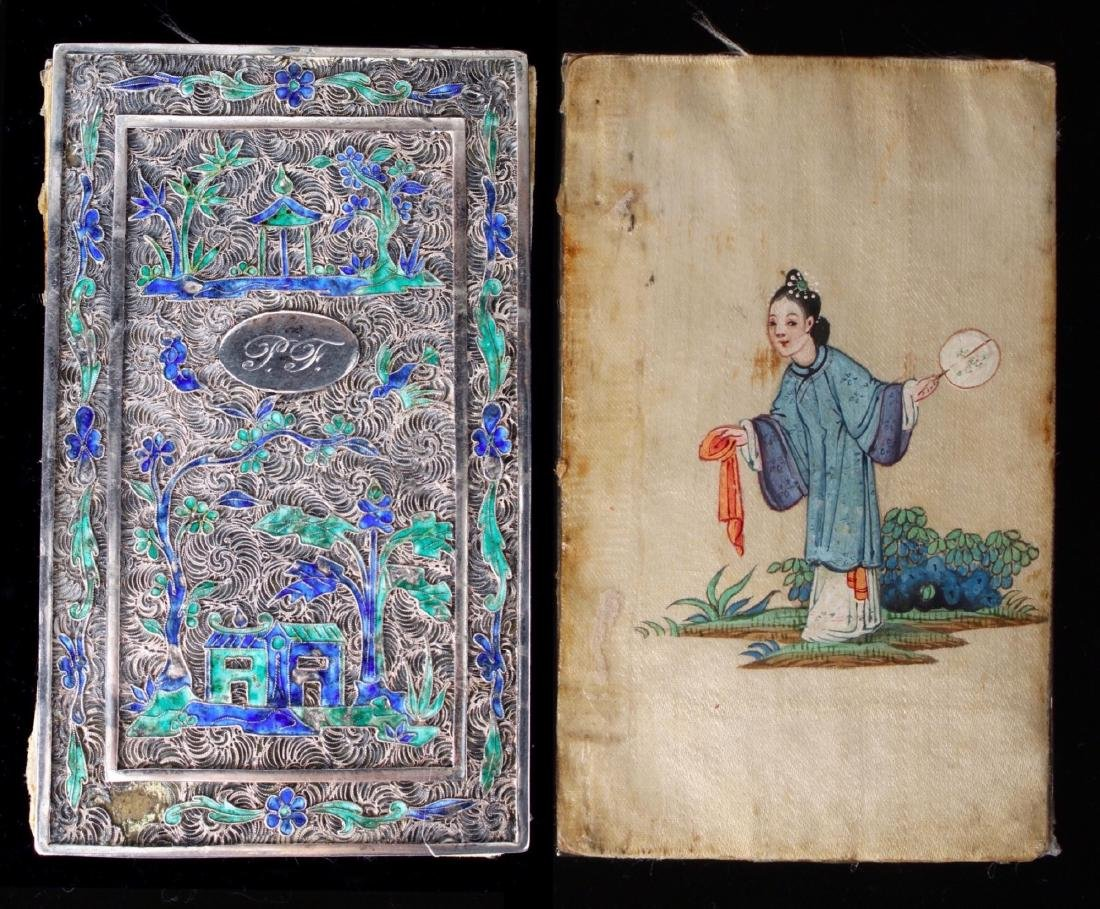 """CHINESE SILVER """"BOOK"""" WITH SILK PAINTING"""