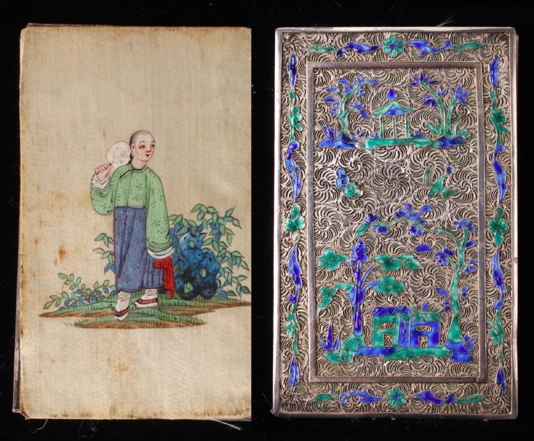 """CHINESE SILVER """"BOOK"""" WITH SILK PAINTING - 2"""