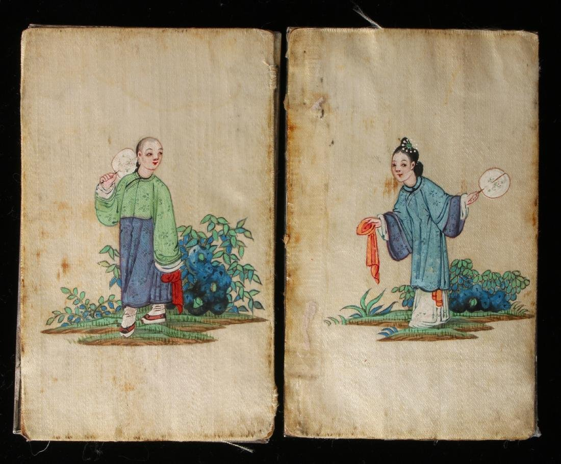 """CHINESE SILVER """"BOOK"""" WITH SILK PAINTING - 3"""