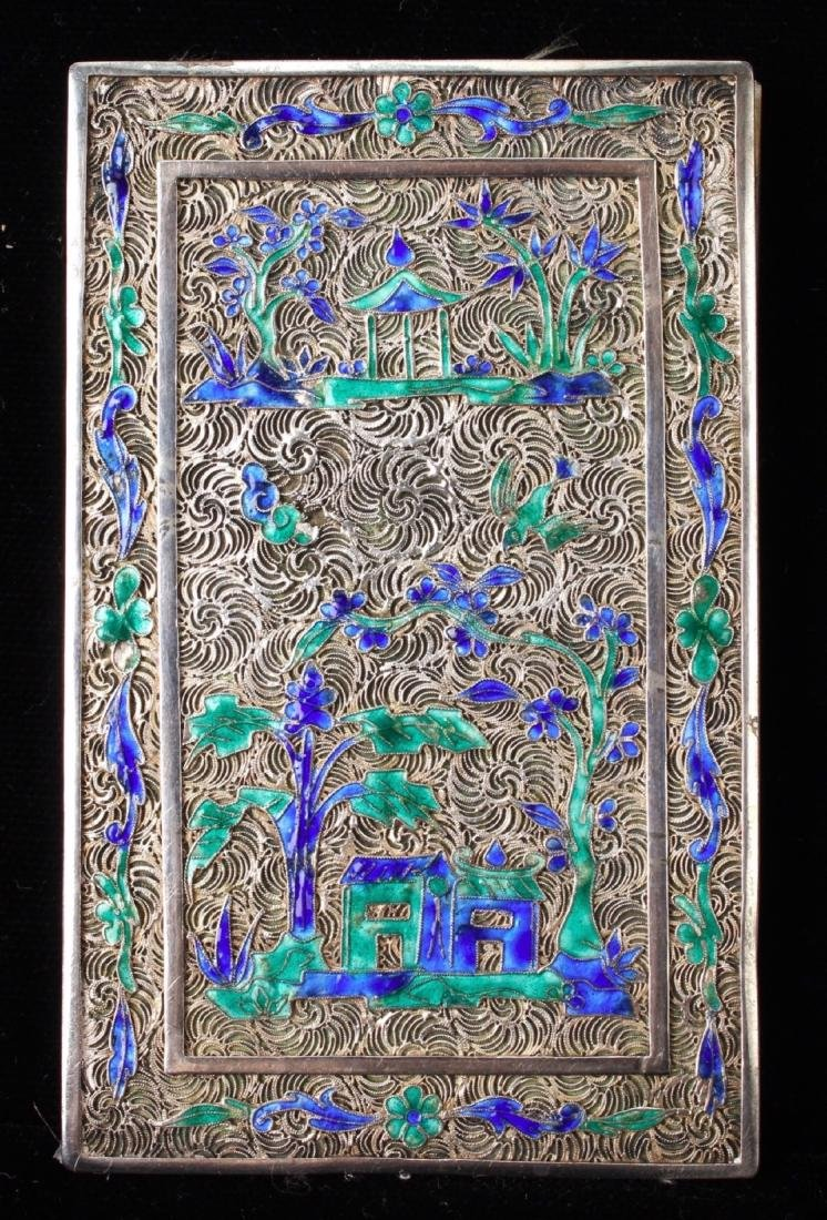 """CHINESE SILVER """"BOOK"""" WITH SILK PAINTING - 7"""