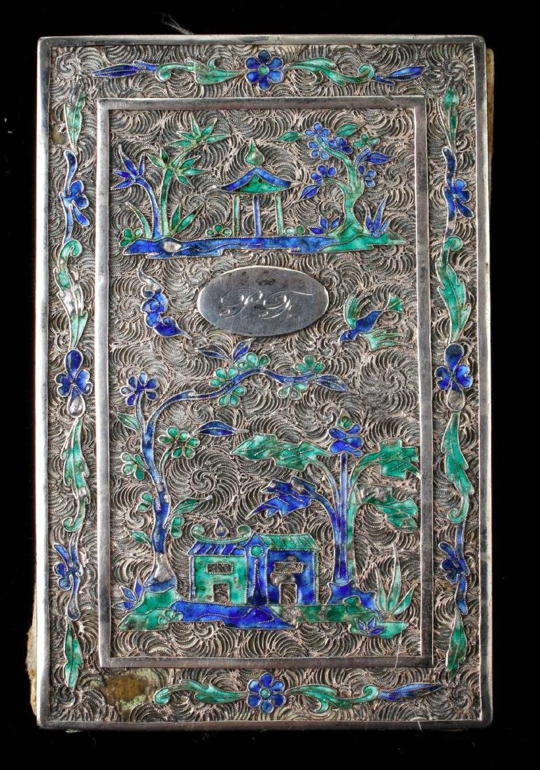 """CHINESE SILVER """"BOOK"""" WITH SILK PAINTING - 8"""