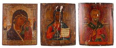 THREE RUSSIAN RELIGIOUS ICONS ON WOOD