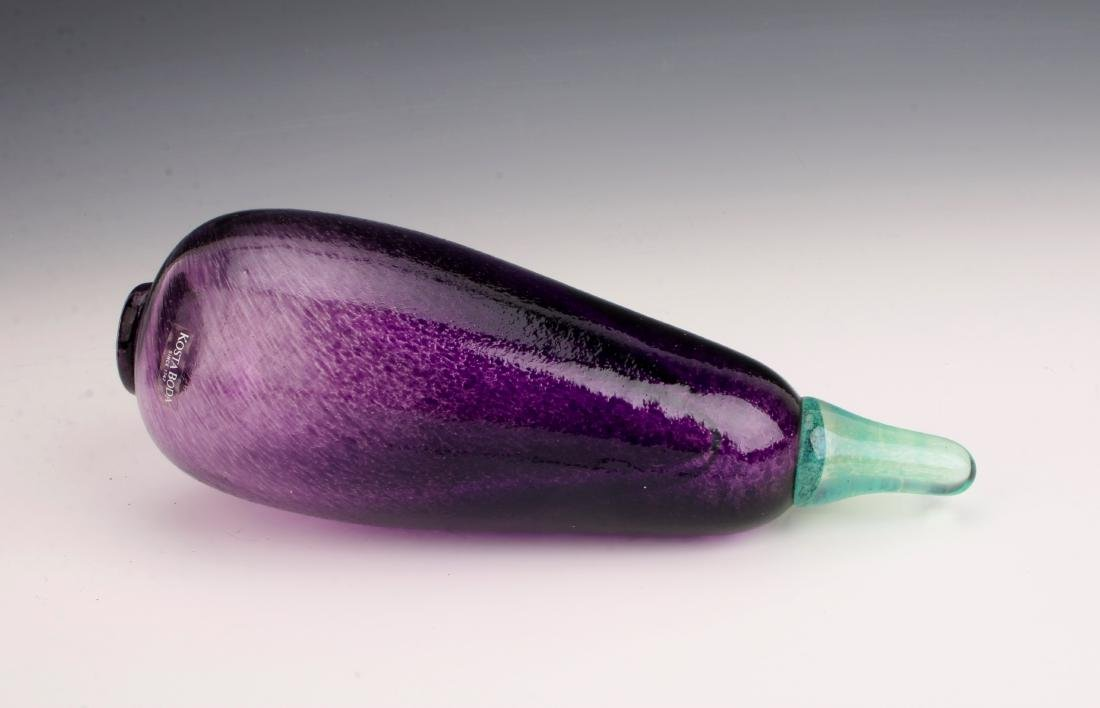 KOSTA BODA SIGNED G. SAHLIN ART GLASS EGGPLANT - 2