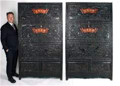 PAIR OF ELABORATELY CARVED ZITAN CABINETS